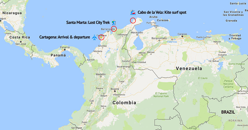 kitesurfing-trip-in-colombia-map